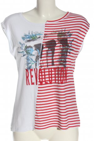 Rich & Royal Gebreide top wit-rood abstract patroon casual uitstraling