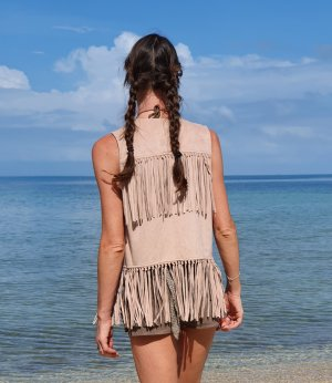 Rich & Royal Fringed Vest multicolored
