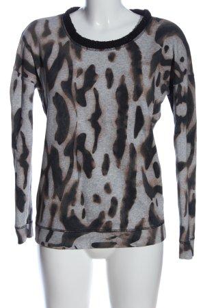 Rich & Royal Sweatshirt hellgrau-schwarz abstraktes Muster Casual-Look