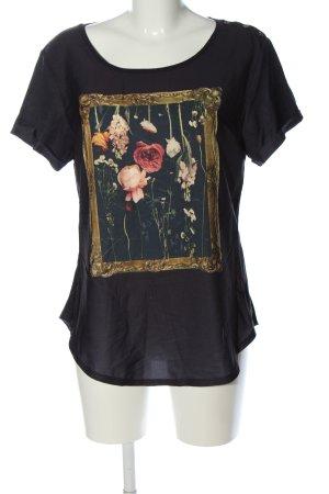 Rich & Royal T-Shirt schwarz Blumenmuster Casual-Look