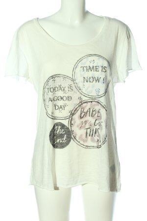 Rich & Royal Camiseta blanco-negro letras impresas look casual