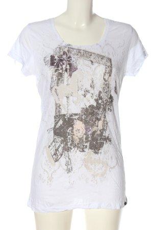 Rich & Royal T-shirt blanc-brun imprimé avec thème style décontracté