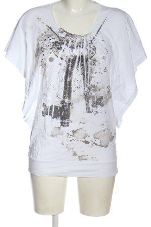 Rich & Royal T-shirt blanc-gris clair imprimé avec thème style décontracté
