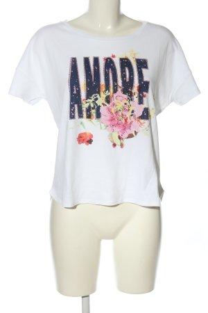 Rich & Royal T-Shirt weiß-blau Blumenmuster Casual-Look