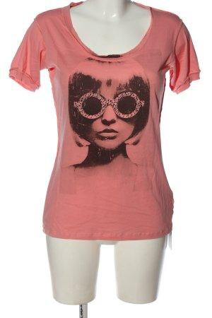 Rich & Royal T-shirt rosa-nero Stampa a tema stile casual