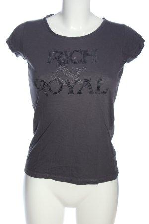 Rich & Royal T-Shirt hellgrau Schriftzug gedruckt Casual-Look