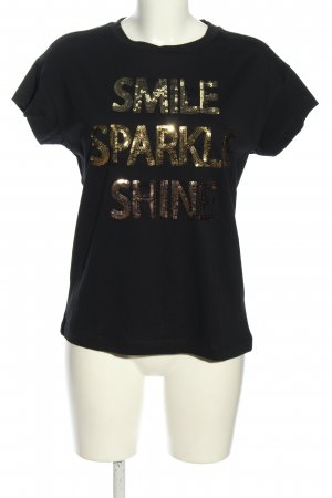 Rich & Royal T-Shirt black-gold-colored printed lettering casual look