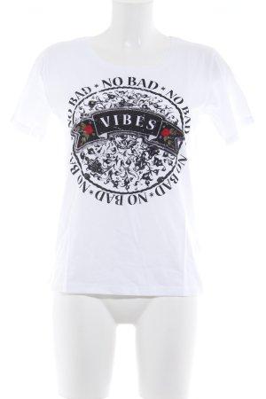 Rich & Royal T-Shirt weiß abstrakter Druck Biker-Look
