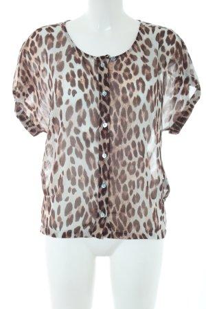 Rich & Royal Transparenz-Bluse bronzefarben-türkis Leomuster Casual-Look