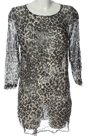 Rich & Royal Transparenz-Bluse weiß-schwarz abstraktes Muster Casual-Look