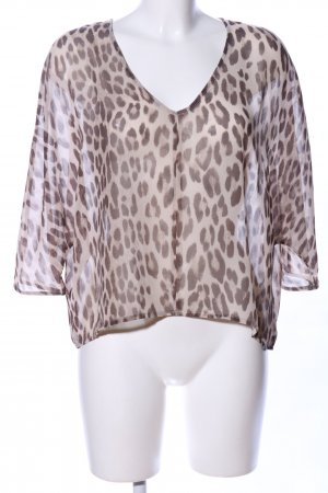 Rich & Royal Transparenz-Bluse creme-braun Allover-Druck Casual-Look