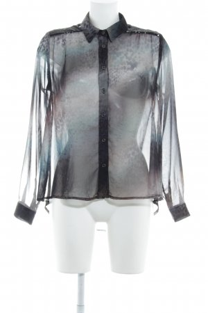 Rich & Royal Transparenz-Bluse schwarz-dunkelgrün Camouflagemuster Casual-Look