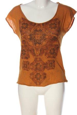 Rich & Royal U-Boot-Shirt hellorange-braun Allover-Druck Casual-Look