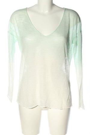 Rich & Royal V-Ausschnitt-Pullover grün-weiß Farbverlauf Casual-Look