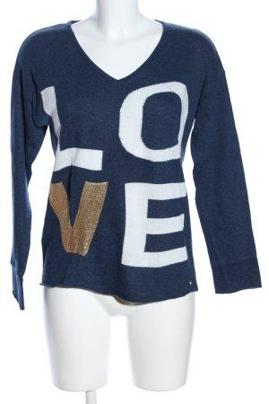 Rich & Royal V-Ausschnitt-Pullover Schriftzug gedruckt Casual-Look