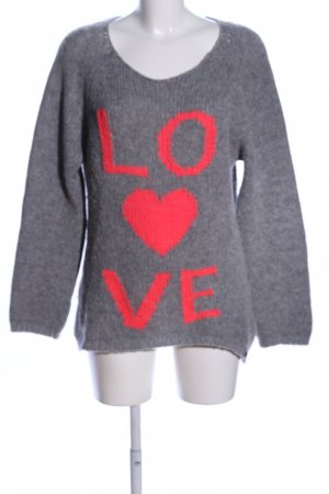 Rich & Royal Wollpullover hellgrau-rot meliert Casual-Look
