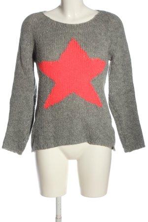 Rich & Royal Wollpullover hellgrau-pink meliert Casual-Look