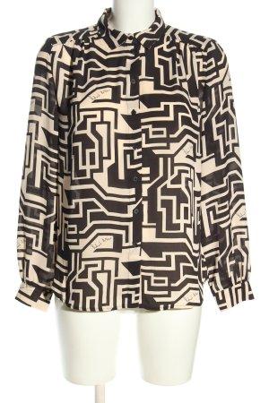 Richard Allen x H&M Langarm-Bluse creme-schwarz abstraktes Muster Business-Look