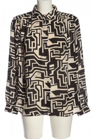 Richard Allen x H&M Langarmhemd creme-schwarz abstraktes Muster Casual-Look