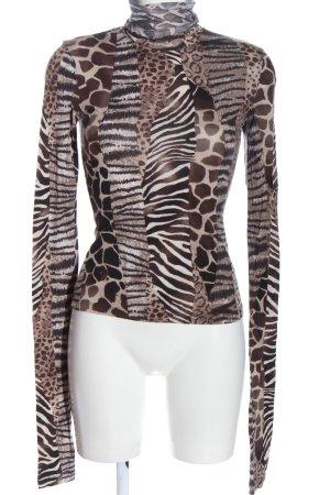 richi & co Camisa de cuello de tortuga marrón-blanco puro look casual
