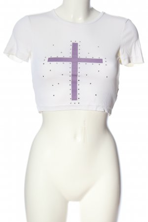 Richmond Cropped Top white-lilac themed print casual look