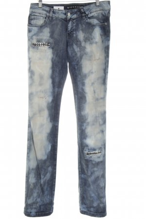 Richmond Skinny Jeans blau-weiß abstraktes Muster Casual-Look
