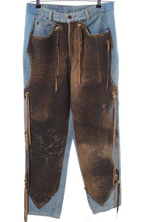 Richy Hoge taille jeans blauw-bruin extravagante stijl