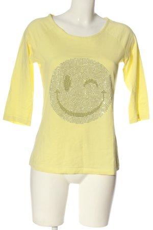rick cardona T-Shirt blassgelb-silberfarben Motivdruck Casual-Look