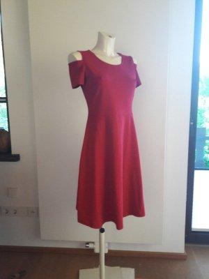 rick cardona Empire Dress raspberry-red-neon red cotton
