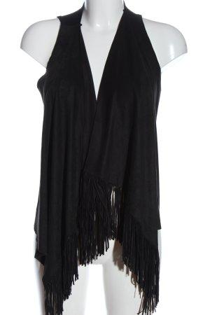 Rick Cardona NewYork Fringed Vest black elegant