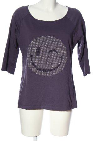 rick cardona Schlupf-Bluse lila-silberfarben Motivdruck Casual-Look