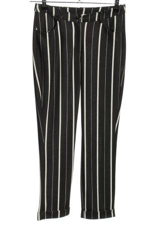rick cardona Stretchhose schwarz-weiß Streifenmuster Casual-Look