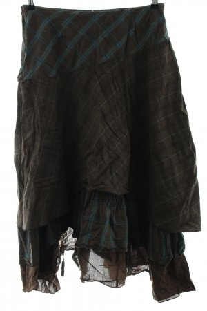 rick cardona Flounce Skirt blue-brown check pattern vintage look