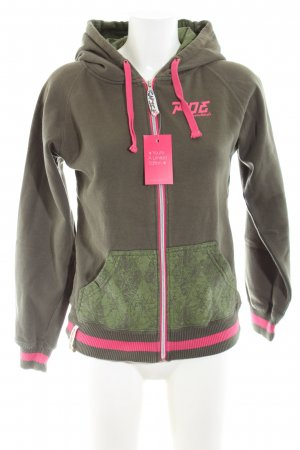 Ride Snowboards Sweatjacke khaki-pink abstraktes Muster Casual-Look