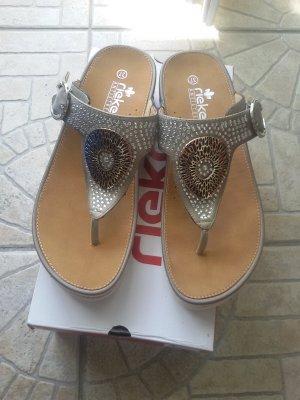 Rieker Heel Pantolettes silver-colored-bronze-colored