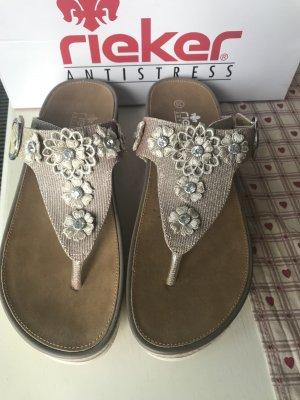 Rieker High-Heeled Toe-Post Sandals rose-gold-coloured