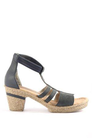 Rieker High Heel Sandaletten schwarz-blau Casual-Look