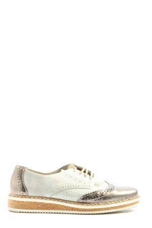 Rieker Oxfordy brąz-biały Zwierzęcy wzór W stylu casual