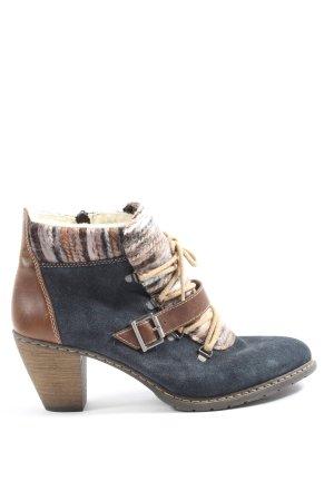 Rieker Reißverschluss-Stiefeletten blau-braun Casual-Look