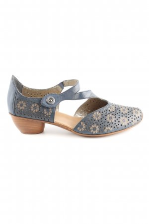 Rieker Strapped High-Heeled Sandals blue-natural white flower pattern