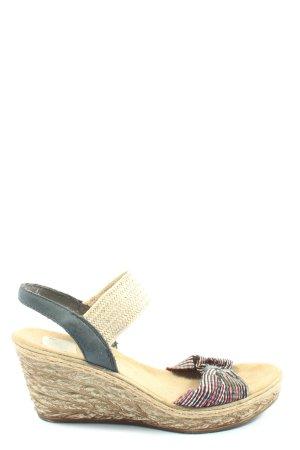 Rieker Wedges Sandaletten creme-schwarz Casual-Look