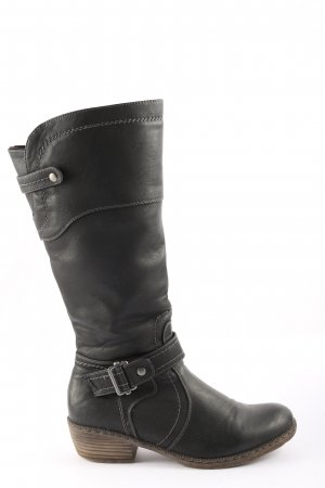 Rieker Wide Calf Boots black-silver-colored casual look
