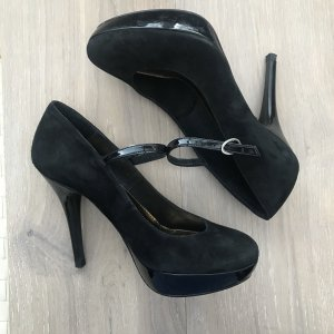 Buffalo Platform Pumps black leather