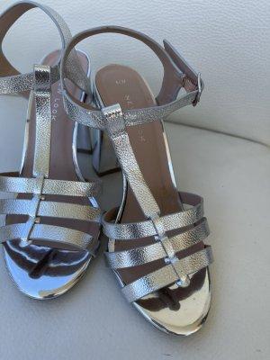 Riemchen Pumps  Sandaletten Sandalen Gr 37 Engl Gr 4 New Look Metallic Silber