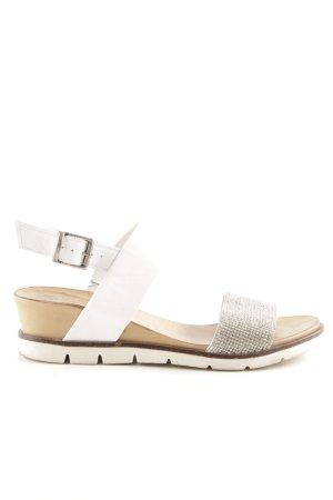 Riemchen-Sandalen weiß-silberfarben Glitzer-Optik