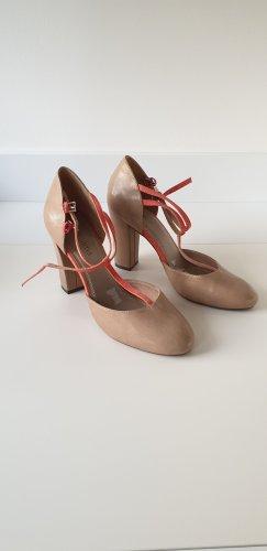 Riemchen Sandalette beige orange Gr. 40,10 cm Absatz
