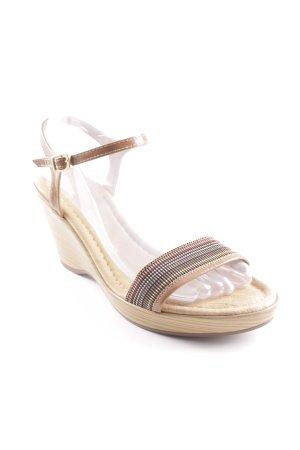 Riemchen-Sandaletten beige Streifenmuster