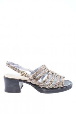 Strapped High-Heeled Sandals brown-natural white animal pattern casual look