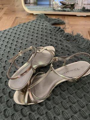 Riemchen Sandaletten rosé Gold und Silber