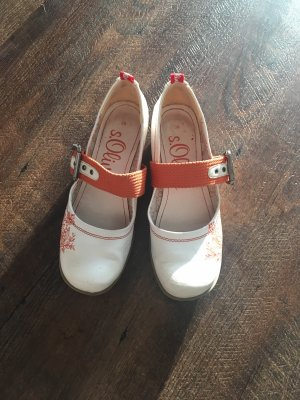s.Oliver Ballerines à lacets blanc-orange